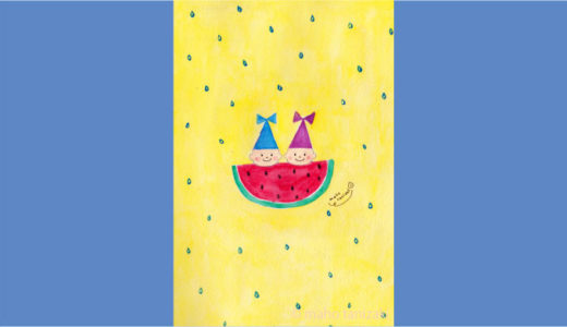 【Personal works】夏イラスト・スイカ「こびと人魚 − すいか − 」