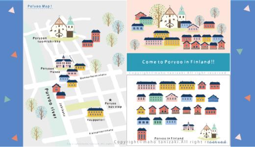 【Personal works】水彩画タッチ・デジタル画タッチ・世界の国イメージ・Map illustrations・Finland・マップ・イラスト・フィンランド −