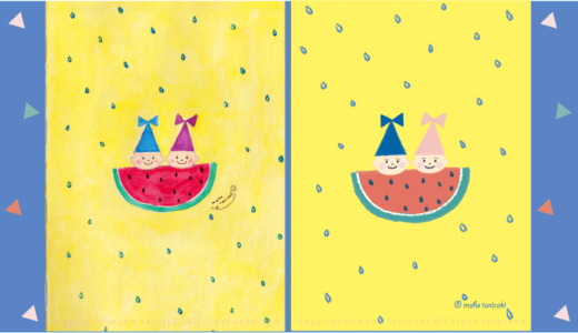 【Personal works】暑中お見舞い申し上げます・「こびと人魚 − すいか − 」