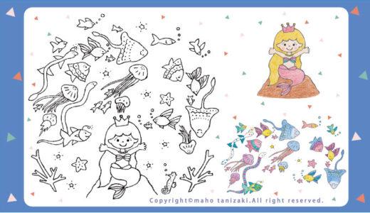 【Personal works】線画タッチ・落描きタッチ・色鉛筆・ぬり絵教材・アンデルセン童話・人魚姫